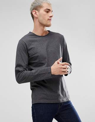 Pretty Green Mitchell Chest Logo Long Sleeve T-Shirt in Gray
