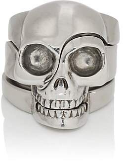 Alexander McQueen Men's Divided-Skull Ring - Silver