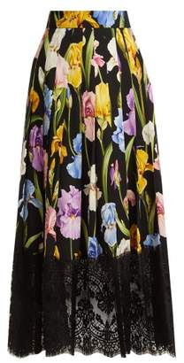 Dolce & Gabbana Iris Print Silk Blend Charmeuse Skirt - Womens - Black Multi