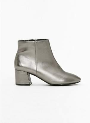 Evans Wide Fit Metallic Block Heel Ankle Boots