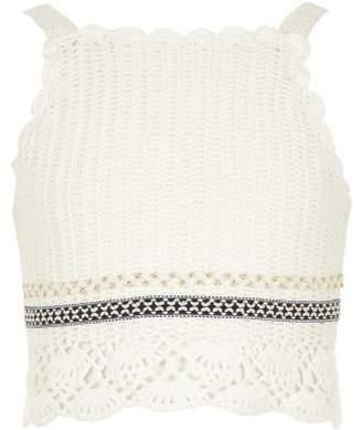 River Island Girls white crochet crop top