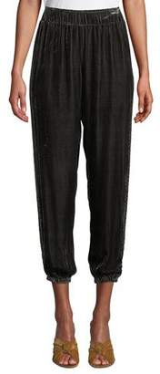 Johnny Was Aurora Velvet Cropped Jogger Pants, Petite