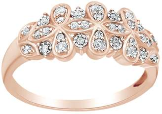 AFFY (0.2 Cttw) White Natural Diamond Flower Anniversary Band Ring In 14K Solid Gold, Ring Size-7