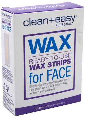 Clean + Easy Clean & Easy Clean+Easy Wax Strips Face 12 Count Ready To Use 24 Apps