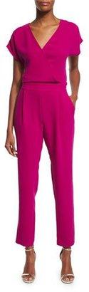 Diane von Furstenberg Emerson Cropped Surplice Jumpsuit, Summer Beet $498 thestylecure.com