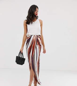 Asos Tall DESIGN Tall twist front maxi skirt in stripe