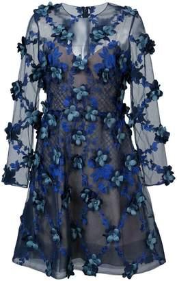 Marchesa embroidered floral-appliquéd dress