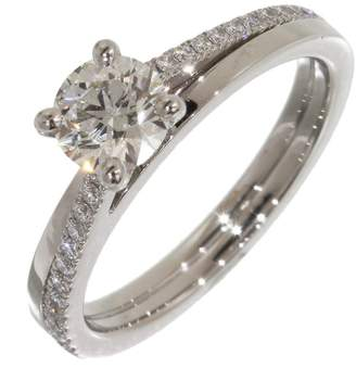 De Beers Platinum with 0.46ct and 0.11ct Accent Diamond Ring Size 4