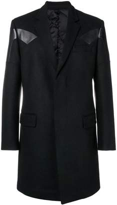 Les Hommes leather insert midi coat