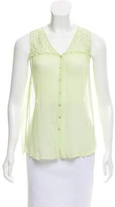 Calypso Guipure Lace-Accented Sleeveless Top