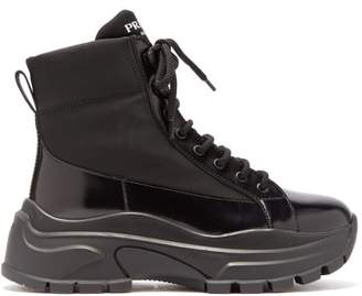 Prada Lace Up Canvas And Leather Boots - Womens - Black