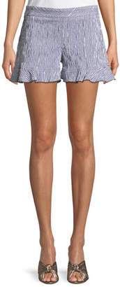 Trina Turk Rocklin Ruffle-Hem Seersucker Striped Shorts