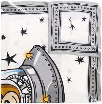 Moschino teddy spaceship print scarf