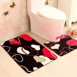 mtqsun 2Pcs Fashion Coral Fleece Non-Slip Absorbent Mats Bathroom Rug + Toilet Pedestal Mat Set Floor Carpet Home Decor