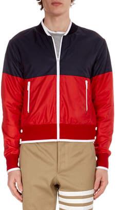 Thom Browne Men's Bi-Color Zip-Front Bomber Jacket