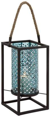 Brimfield & May Metal and Mosaic Lantern, Turquoise