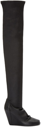 Rick Owens Black Thigh-High Wedge Boots $2,060 thestylecure.com