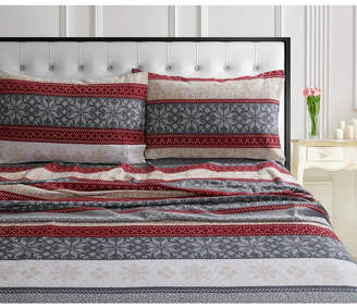 Tribeca Living Alpine Knit 170-gsm Cotton Flannel Printed Extra Deep Pocket Queen Sheet Set Bedding
