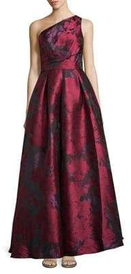 Carmen Marc Valvo One-Shoulder Floral Print Gown