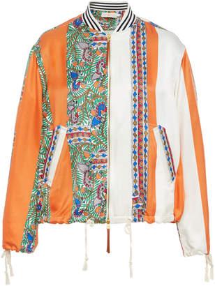 Tory Burch Printed Silk Bomber Jacket