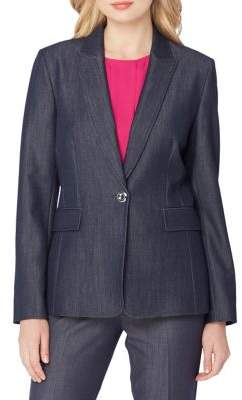 Tahari Arthur S. Levine Chambray One-Button Blazer