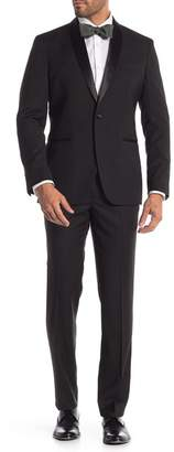 Kenneth Cole Reaction Black Solid One Button Shawl Lapel Tuxedo