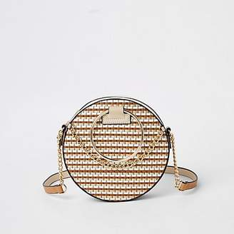 River Island Beige weave circle cross body bag
