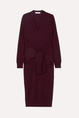 Chloé Tie-front Wool Midi Dress - Burgundy