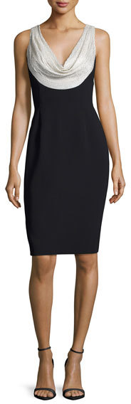 Carmen Marc ValvoCarmen Marc Valvo Sleeveless Silk-Trim Crepe Sheath Dress, Silver/Black