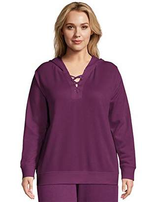Just My Size Women's Plus Size Hoodie with Lace-up Collar