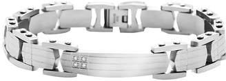 FINE JEWELRY Mens Stainless Steel Diamond-Accent ID Bracelet