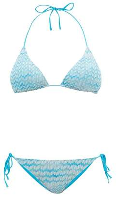 Missoni Mare - Zigzag Knit Stretch Mesh Bikini - Womens - Blue