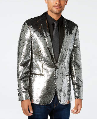 Tallia Men's Slim-Fit Silver/Black Reversible Sequin Dinner Jacket