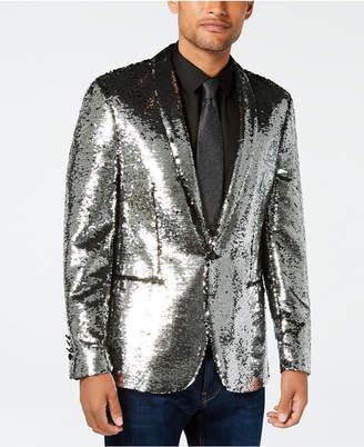 Tallia Men Slim-Fit Silver/Black Reversible Sequin Dinner Jacket