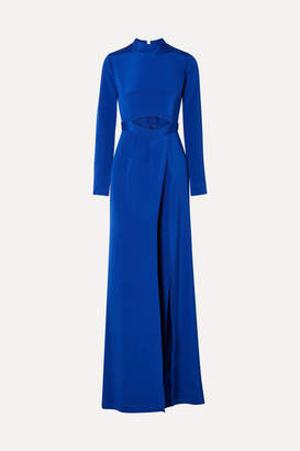 Burnett New York - Cutout Layered Silk-crepe Wide-leg Jumpsuit - Cobalt blue