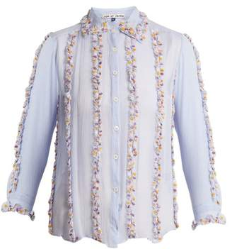 Jupe By Jackie - Swan Embroidered Ruffle Silk Shirt - Womens - Light Blue