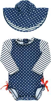 RuffleButts Polka Dot One-Piece Rashguard Swimsuit & Sun Hat Set