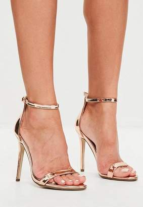 Missguided Rose Gold Two Strap Barely There Heels
