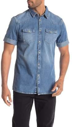 AllSaints Ilford Short Sleeve Regular Fit Denim Shirt