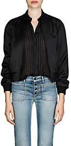 Saint Laurent Women's Logo Satin Bomber Jacket - Black