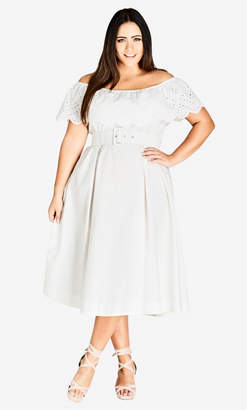 City Chic White Embroidered Tea-Length Dress