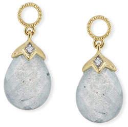 Jude Frances 18k Lisse Pear Briolette Earring Charms, Labradorite/Blue Topaz