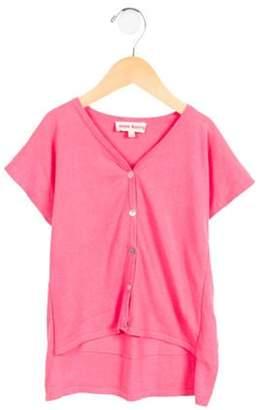 Anne Kurris Girls' High-Low Button-Up Cardigan pink Anne Kurris Girls' High-Low Button-Up Cardigan