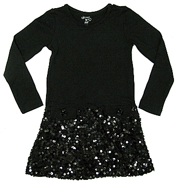 Flowers By Zoe - Kid's Black 3/4 Sleeve Sequin Dress