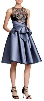 Marchesa Sleeveless A-Line Cascade Dress