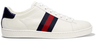 Gucci Ace Watersnake And Canvas-trimmed Leather Sneakers