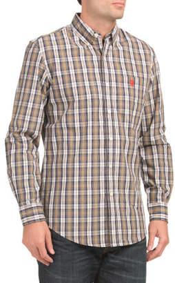 Long Sleeve Peached Poplin Plaid Shirt