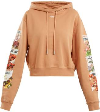 Off-White Logo and floral-print cotton cropped sweatshirt