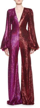 Halpern Two-Tone Bell-Sleeve Sequined Jumpsuit
