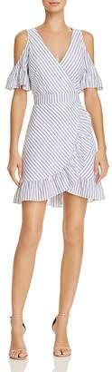 BB Dakota Striped Cold-Shoulder Faux-Wrap Dress